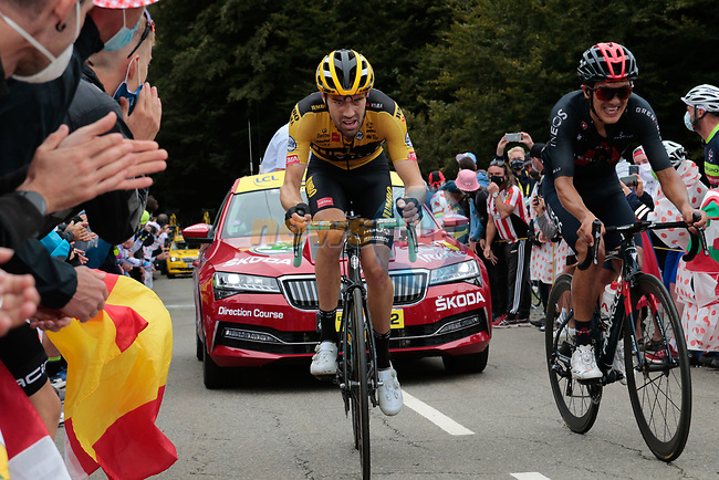 Tom Dumoulin (NED) Team Jumbo-Visma and Richard Carapaz (ECU) Ineos Grenadiers climb Col de Marie Blanque during Stage 9 of Tour de France 2020, running 153km from Pau to Laruns, France. 6th September 2020. <br /> Picture: Colin Flockton | Cyclefile<br /> All photos usage must carry mandatory copyright credit (© Cyclefile | Colin Flockton)