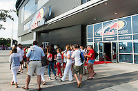 United States (USA) fans wait for the doors to open prior to an international friendly between the women's national teams of the United States and the Korea Republic at Red Bull Arena in Harrison, NJ, on June 20, 2013.