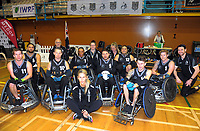 The Wheel Blacks pose for a team photo after the 2017 International Wheelchair Rugby Federation Asia-Oceania Zone Championships tournament match between the New Zealand Wheel Blacks and Japan at ASB Stadium in Auckland, New Zealand on Thursday, 31 August 2017. Photo: Dave Lintott / lintottphoto.co.nz