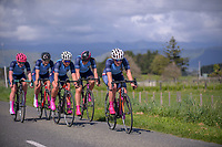 The PNGHS u20 team in action during the NZ Schools Road Cycling championship day one team time trials at Koputaroa Road near Levin, New Zealand on Saturday, 30 September 2017. Photo: Dave Lintott / lintottphoto.co.nz