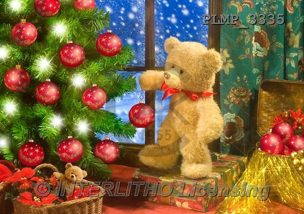 Marek, CHRISTMAS ANIMALS, WEIHNACHTEN TIERE, NAVIDAD ANIMALES, teddies, photos+++++,PLMP3335,#Xa# under Christmas tree,