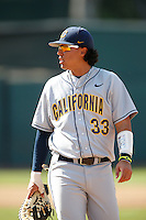 Devon Rodriguez #33 of the California Golden Bears during a baseball game against the UCLA Bruins at Jackie Robinson Stadium on March 23, 2013 in Los Angeles, California. (Larry Goren/Four Seam Images)