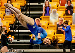 February 19, 2021: Long Island University's Charli Cohen competes on the uneven bars during the 2nd Annual George McGinty Alumni Meet at the SECU Arena at Towson University in Towson, Maryland. Scott Serio/Eclipse Sportswire/CSM