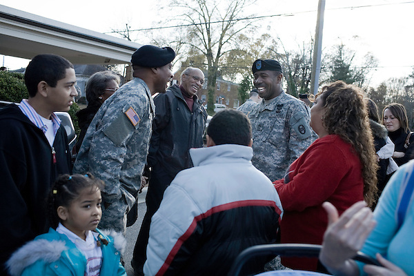 December 02, 2008. Sanford, NC.. A deployment ceremony was held for Company D, 1/252nd Combined Arms Battalion of the North Carolina National Guard, part of the 30th Heavy Brigade Combat Team, that will ship out to Iraq for the second time in April.. The NC National Guard sustained 10 KIA's during the last deployment and this will be the 1st time the NCNG will be directly involved in counterinsurgency operations in Iraq..