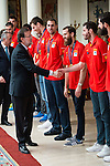 The reception of Prime Minister Mariano Rajoy to Spain national basketball team gold at EuroBasket 2015 at Moncloa Palace in Madrid, 21 September, 2015.<br /> Prime Minister Mariano Rajoy and Rudy Fernandez.<br /> (ALTERPHOTOS/BorjaB.Hojas)