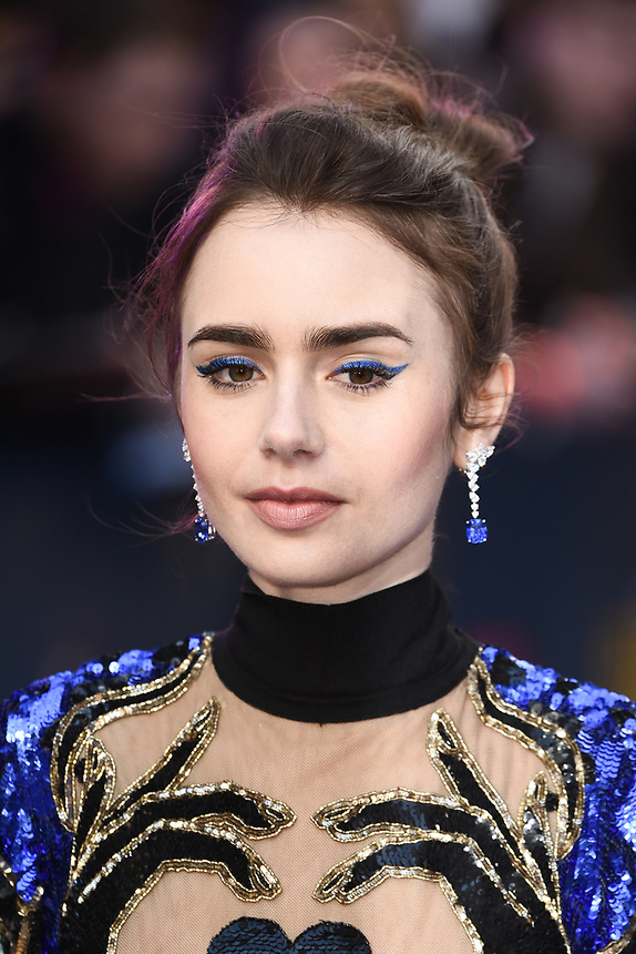 "Lily Collins<br /> arriving for the ""Extremely Wicked, Shockingly Evil And Vile"" premiere at the Curzon Mayfair, London<br /> <br /> ©Ash Knotek  D3495  23/04/2019"