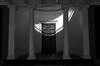 Light streams on to the doorway of Pavilion VII at the University of Virginia in Charlottesville, Va. Photo/Andrew Shurtleff Photography, LLC