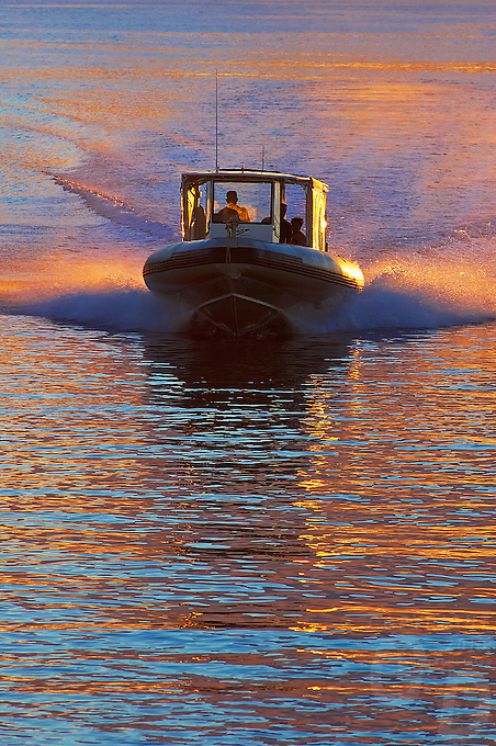 Dive Boat at sunset in the Truk Lagoon, the island of Chuuk also called Truk Lagoon, it was her that during the IIWW in the Pacific a whole fleet of Japanese War ships have been sunk, making it today one of the best dive sites for shipwrecks. Most of the wreck still have everything on board like ammunition, cars, trucks, tanks and skeletons from the sailors can be found.