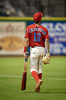 Philadelphia Phillies shortstop J.P. Crawford (12) walks to the clubhouse during a game against the Florida Fire Frogs while on rehab assignment with the Clearwater Threshers on June 1, 2018 at Spectrum Field in Clearwater, Florida.  Florida defeated Clearwater 12-10.  (Mike Janes/Four Seam Images)