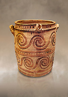 Minoan  bridge spouted jars decorated with swirls, Archanes Palace  1600-1450 BC; Heraklion Archaeological  Museum.
