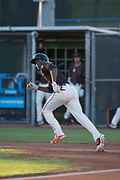 AZL Giants Black center fielder Alexander Canario (14) starts down the first base line during an Arizona League game against the AZL Angels at the San Francisco Giants Training Complex on July 1, 2018 in Scottsdale, Arizona. The AZL Giants Black defeated the AZL Angels by a score of 4-2. (Zachary Lucy/Four Seam Images)