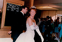 1989 FILE PHOTO - ARCHIVES -<br /> <br /> Fergie sparkles: In her only appearance in full evening dress on Prince Edward Island; Sarah; Duchess of York; wears a cream-colored lace dress to a dinner last night.