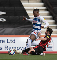 \Queens Park Rangers' Bright Osayi-Samuel (left) is tackled by Bournemouth's Adam Smith (right) <br /> <br /> Photographer David Horton/CameraSport<br /> <br /> The EFL Sky Bet Championship - Bournemouth v Queens Park Rangers - Saturday 17th October 2020 - Vitality Stadium - Bournemouth<br /> <br /> World Copyright © 2020 CameraSport. All rights reserved. 43 Linden Ave. Countesthorpe. Leicester. England. LE8 5PG - Tel: +44 (0) 116 277 4147 - admin@camerasport.com - www.camerasport.com