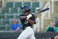 Bryce Bush (25) of the Kannapolis Intimidators follows through on his swing against the Hickory Crawdads at Kannapolis Intimidators Stadium on May 6, 2019 in Kannapolis, North Carolina. The Crawdads defeated the Intimidators 2-1 in game one of a double-header. (Brian Westerholt/Four Seam Images)