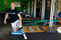 Lewis Jones of Ealing Trailfinders in the gym during the Championship Cup Quarter Final match between Ealing Trailfinders and Nottingham Rugby at Castle Bar , West Ealing , England  on 2 February 2019. Photo by Carlton Myrie / PRiME Media Images.