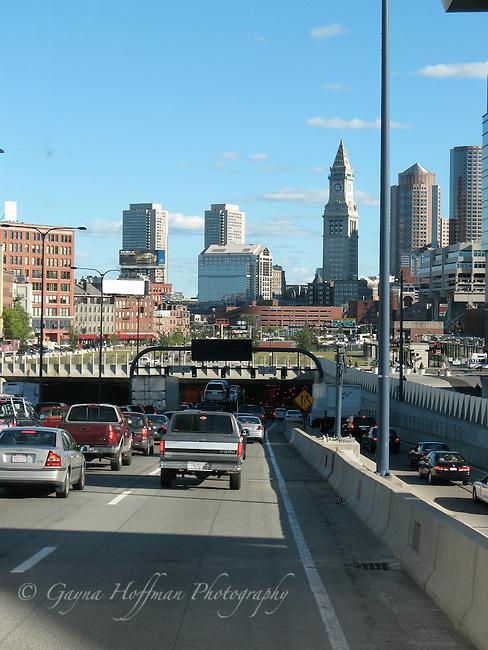 Boston, traffic entering tunnel. MA