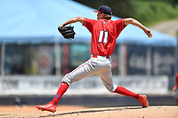 Lakewood BlueClaws starting pitcher Tyler McKay (11) delivers a pitch during a game against the Asheville Tourists at McCormick Field on June 16, 2019 in Asheville, North Carolina. The BlueClaws defeated the Tourists 6-5. (Tony Farlow/Four Seam Images)