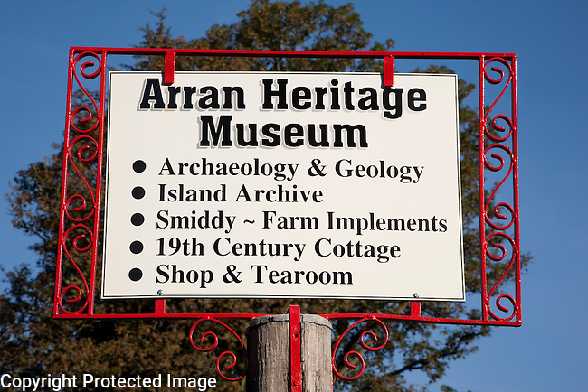 Arran Heritage Museum Sign on the Isle of Arran, Scotland