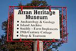 Arran Heritage Museum Sign on the Isle of Arran, Scotland