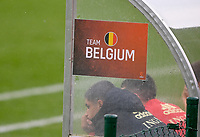 illustration picture showing the Team Belgium banner on the bench during a soccer game between the national teams Under17 Youth teams of  Norway and Belgium on day 3 in the Qualifying round in group 3 on Tuesday 12 th of October 2020  in Tubize , Belgium . PHOTO SPORTPIX | DAVID CATRY