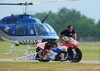 April 30, 2011; Baytown, TX, USA: NHRA pro stock motorcycle rider Hector Arana during the Spring Nationals at Royal Purple Raceway. Mandatory Credit: Mark J. Rebilas-