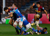 13th February 2021; Twickenham Stoop, London, England; English Premiership Rugby, Harlequins versus Leicester Tigers; Esterhuizen of Harlequins running through Henry and being held by Tommy Reffell of Leicester Tigers in the tackle