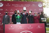 4th October 2020, Longchamp Racecourse, Paris, France; Qatar Prix de l Arc de Triomphe;  Edouard de Rothschild - Cheikh Joaan Bin Hamad Al Thani - Cristian Demuro - Jean Claude Rouget