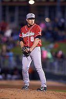 Great Lakes Loons pitcher Karch Kowalczyk (8) gets ready to deliver a pitch during a game against the Dayton Dragons on May 21, 2015 at Fifth Third Field in Dayton, Ohio.  Great Lakes defeated Dayton 4-3.  (Mike Janes/Four Seam Images)