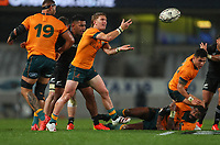 Australia's Tate McDermott passes during the Bledisloe Cup rugby match between the New Zealand All Blacks and Australia Wallabies at Eden Park in Auckland, New Zealand on Saturday, 14 August 2021. Photo: Simon Watts / lintottphoto.co.nz / bwmedia.co.nz