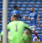 15.05.2021 Rangers v Aberdeen: Kemar Roofe celebrates with Joe Aribo