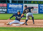 12 July 2015: Vermont Lake Monsters catcher Seong-min Kim is tagged out at third by third baseman Mitchell Tolman during game action against the West Virginia Black Bears at Centennial Field in Burlington, Vermont. The Lake Monsters came back from a 4-0 deficit to defeat the Black Bears 5-4 in NY Penn League action. Mandatory Credit: Ed Wolfstein Photo *** RAW Image File Available ****