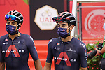 Ivan Ramiro Sosa Cuervo and Brandon Rivera Vargas (COL) Ineos Grenadiers at sign on before the start of Stage 5 of the 2021 UAE Tour running 170km from Fujairah to Jebel Jais, Fujairah, UAE. 25th February 2021.  <br /> Picture: Eoin Clarke   Cyclefile<br /> <br /> All photos usage must carry mandatory copyright credit (© Cyclefile   Eoin Clarke)