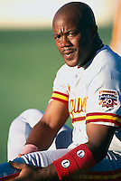 Chad Fonville of the Albuquerque Dukes during a game at Cashman Field in Las Vegas, Nevada during the 1997 season.(Larry Goren/Four Seam Images)