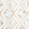 Simone, a waterjet stone mosaic, shown in honed Calacatta Gold, honed Thassos, and brushed Brass, is part of the Trove collection and available through the Studio Line of Ready to Ship mosaics.<br /> *Not recommended for floor installations.