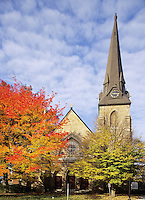 Greenfield, Massachusetts.Bright autumn color around the 2nd Congregational Church on the village green