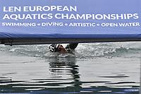 ACERENZA Domenico ITA touch the finish panel <br /> Team Event 5 km<br /> Open Water<br /> Budapest  - Hungary  15/5/2021<br /> Lupa Lake<br /> XXXV LEN European Aquatic Championships<br /> Photo Andrea Staccioli / Deepbluemedia / Insidefoto