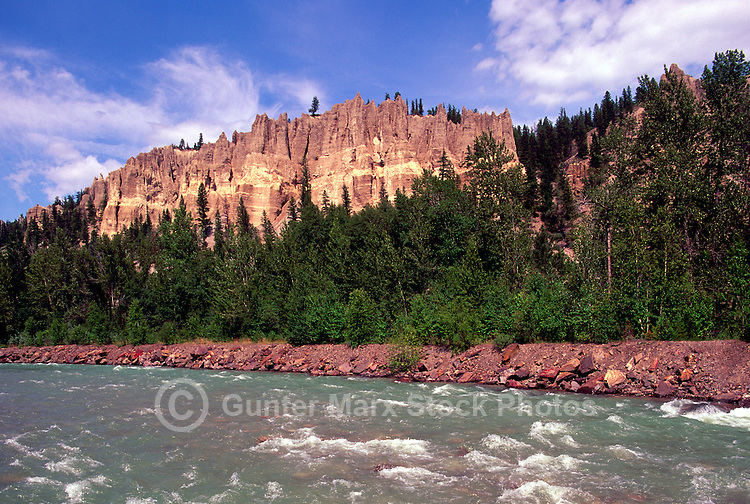 The Hoodoos at Dutch Creek along Highway 93, near Fairmont Hot Springs in the Canadian Rockies, British Columbia, Canada, in Summer