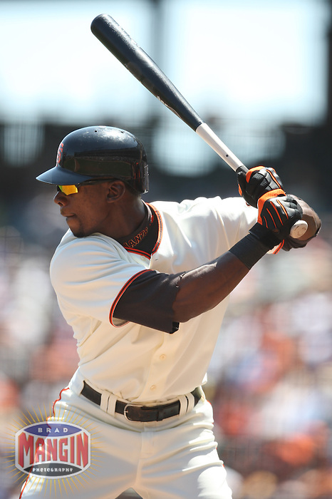 SAN FRANCISCO - APRIL 22:  Fred Lewis #14 of the San Francisco Giants bats against the San Diego Padres during the game at AT&T Park on April 22, 2009 in San Francisco, California. Photo by Brad Mangin