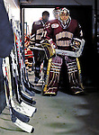 10 January 2009: Boston College Eagles' goaltender John Muse, a Sophomore from East Falmouth, MA, prepares to take the ice against the University of Vermont Catamounts for the second game of a weekend series at Gutterson Fieldhouse in Burlington, Vermont. The Catamounts rallied from an early 2-0 deficit to defeat the visiting Eagles 4-2. Mandatory Photo Credit: Ed Wolfstein Photo
