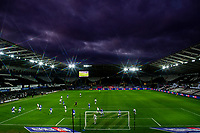 (EDITORS NOTE: A special effects camera filter was used for this image.) A general view of play during the Sky Bet Championship match between Swansea City and Cardiff City at the Liberty Stadium in Swansea, Wales, UK. Saturday 20 March 2021