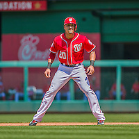 24 May 2015: Washington Nationals shortstop Ian Desmond takes a lead off first during a game against the Philadelphia Phillies at Nationals Park in Washington, DC. The Nationals defeated the Phillies 4-1 to take the rubber game of their 3-game weekend series. Mandatory Credit: Ed Wolfstein Photo *** RAW (NEF) Image File Available ***