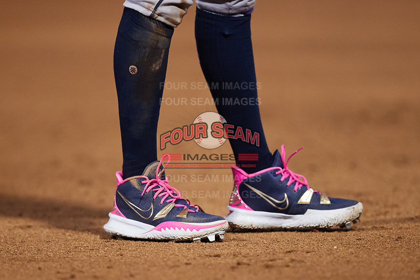 A closeup of the Nike cleats worn by Gwinnett Stripers third baseman Johan Camargo (17) during the game against the Charlotte Knights at Truist Field on July 17, 2021 in Charlotte, North Carolina. (Brian Westerholt/Four Seam Images)