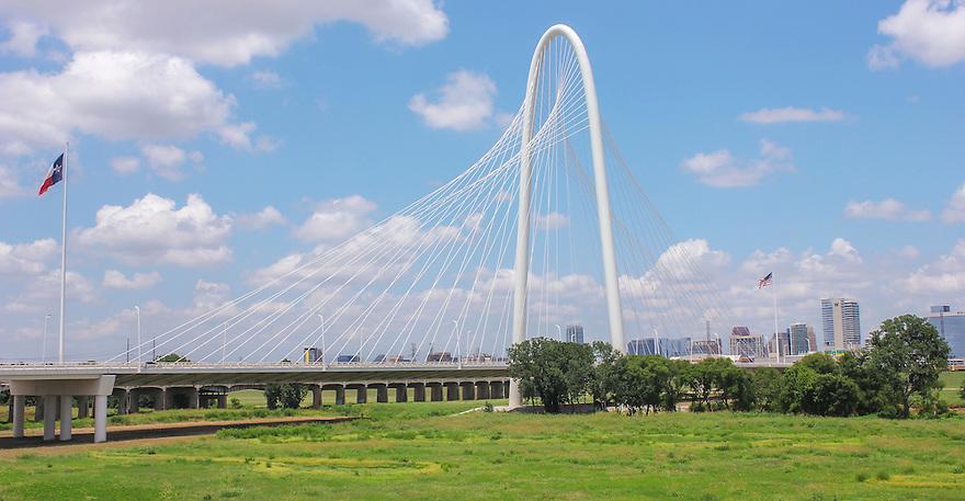 One of Dallas landmark, Margaret Hunt Hill Bridge is built above the Trinity River.