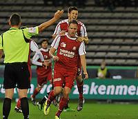 Cercle Brugge KSV - KV Kortrijk : vreugde bij Dalibor Veselinovic na zijn doelpunt , hij viert samen met Rami Gershon.foto VDB / BART VANDENBROUCKE