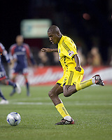 Columbus Crew defender Andy Iro (6). The Columbus Crew defeated the New England Revolution, 1-0, at Gillette Stadium on October 10, 2009.