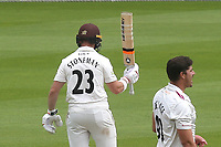 Mark Stoneman of Surrey raises his bat after scoring fifty during Surrey CCC vs Somerset CCC, LV Insurance County Championship Group 2 Cricket at the Kia Oval on 13th July 2021