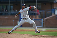 Greenville Drive pitcher Mario Alcantara #38 delivers a pitch during a game against the  Asheville Tourists at McCormick Field on May 17, 2014 in Asheville, North Carolina. The Tourists defeated the Drive 14-6. (Tony Farlow/Four Seam Images)