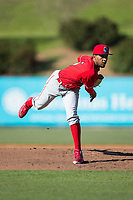 Lakewood BlueClaws starting pitcher Adonis Medina (16) in action against the Kannapolis Intimidators at Kannapolis Intimidators Stadium on April 9, 2017 in Kannapolis, North Carolina.  The BlueClaws defeated the Intimidators 7-1.  (Brian Westerholt/Four Seam Images)
