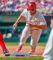 23 May 2015: Philadelphia Phillies outfielder Ben Revere hustles back to first during game action against the Washington Nationals at Nationals Park in Washington, DC. The Phillies defeated the Nationals 8-1 in the second game of their 3-game weekend series. Mandatory Credit: Ed Wolfstein Photo *** RAW (NEF) Image File Available ***