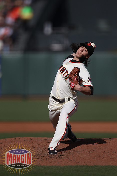 SAN FRANCISCO - MAY 21:  Tim Lincecum of the San Francisco Giants pitches against the Oakland Athletics during the game at AT&T Park on Saturday, May 21, 2011 in San Francisco, California. Photo by Brad Mangin